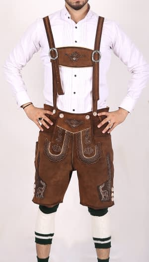 German Mens Lederhosen Shaded Brown Deer Motif 1