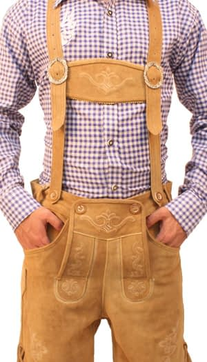 Bavarian Short Lederhosen Light Brown Wood